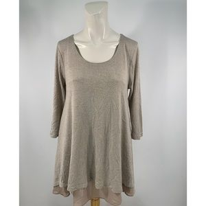 Q Umgee 3/4 sleeves Blend Tunic Top